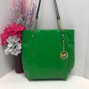 Michael Kors MK Jet Set Green Tote Bag w/ Chains